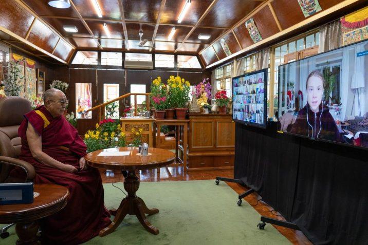 Setkání JS dalajlámy s Gretou Thunbergovou. dalailama.com